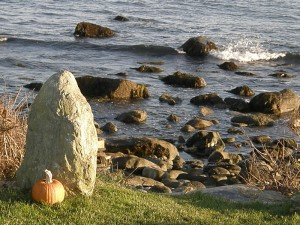 Fall Pumpkin with Ocean Waves and Rocks